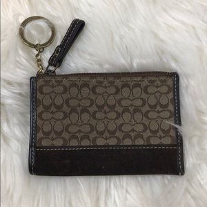 Coach Brown Monogram Zip Keychain Wristlet
